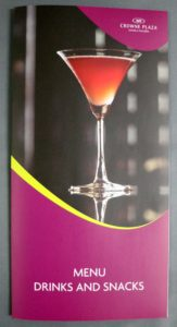 IHG Crowne Plaza Drinks Menu #vjgraphicsprinting #offsetprinting #menu #growthroughprint