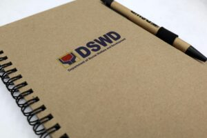 DSWD Notebook and Pen #vjgraphicsprinting #notebook #growthroughprint #offsetprinting — with DSWD and Department of Social Welfare and Development.