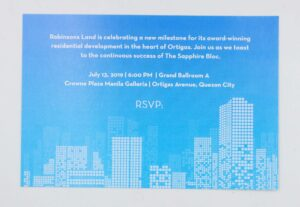 Robinsons Land Corporation Invitation #vjgraphicsprinting #growthroughprint #invitations #offsetprinting — with The Sapphire Bloc managed by Gino Buenaventura and The Sapphire Bloc