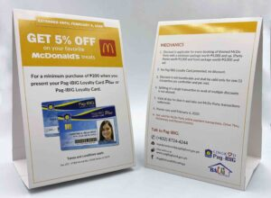Pag-Ibig Fund McDonald's Tent Card #vjgraphicsprinting #growthroughprint #tentcard #offsetprinting #digitalprinting — with Pag-Ibig Fund Caloocan, PAG-IBIG Fund and Pag-IBIG Fund (HDMF) in Quezon City, Philippines.