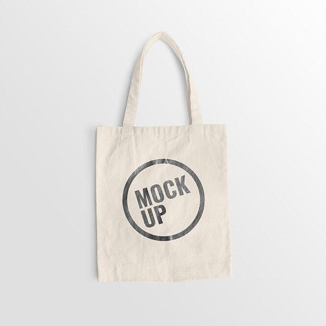 White canvas bag mockup realistic